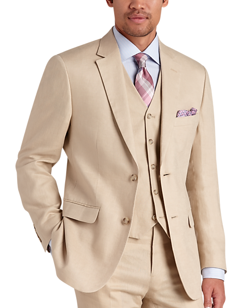 To Uomo Platinum Modern Fit Linen Suit Separates Coat Tan Mens