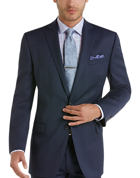 Calvin Klein Blue Plaid Slim Fit Suit - Men's Slim Fit | Men's ...