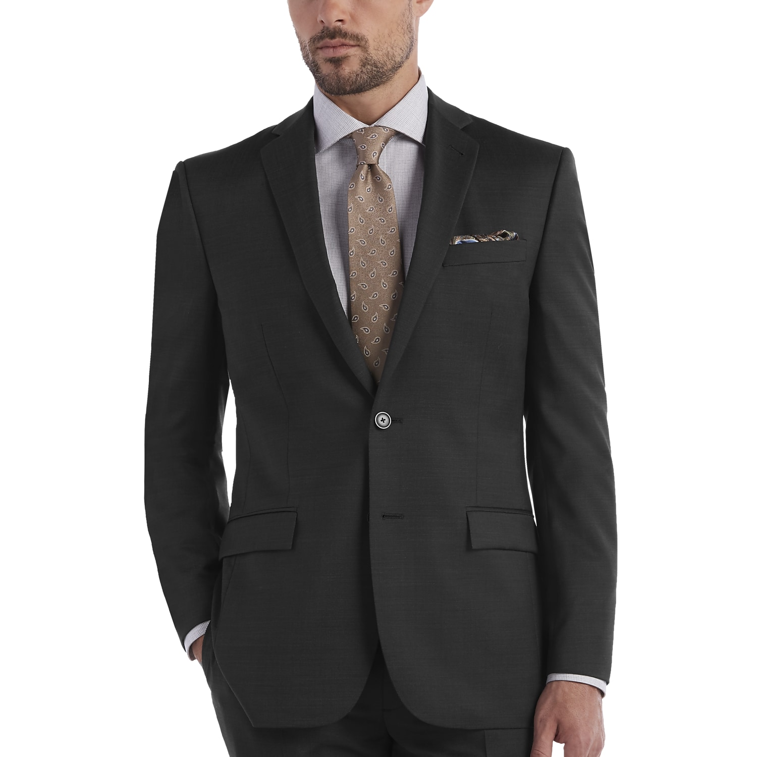 JOE Joseph Abboud Charcoal Gray Tic Slim Fit Survival Suit - Men's ...