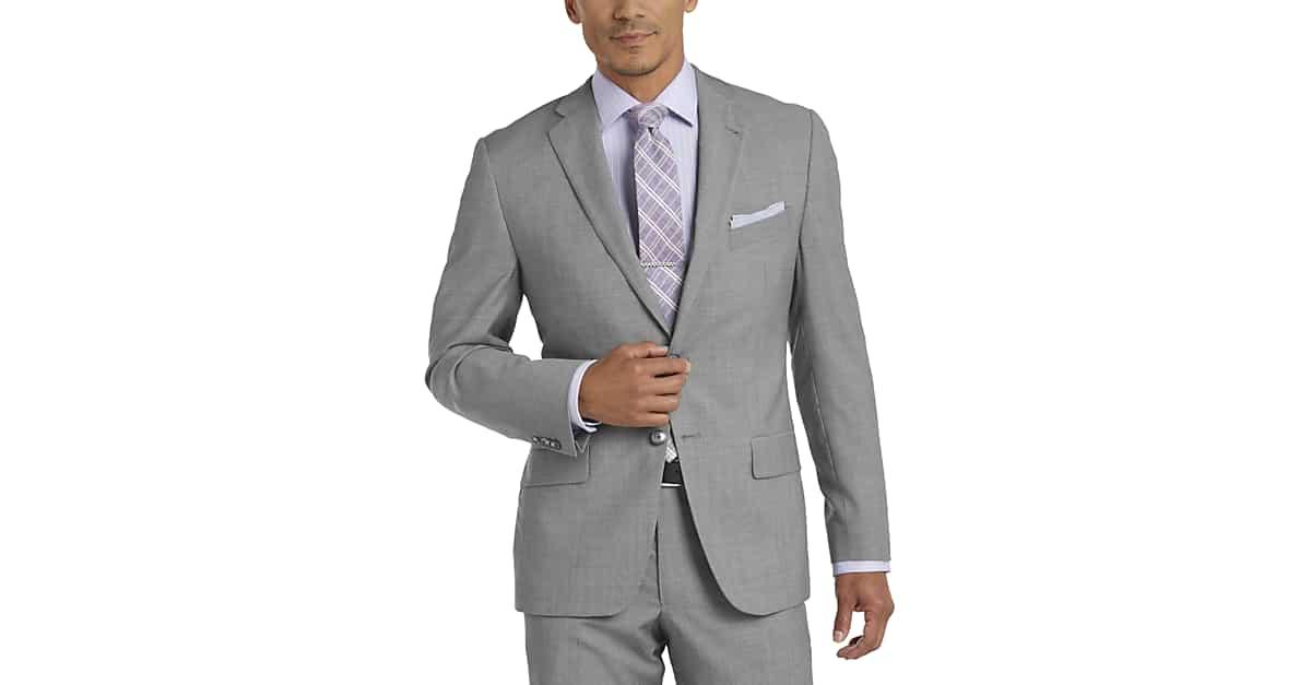 Joseph Abboud Light Gray Tic Slim Fit Suit - Men's Slim Fit ...