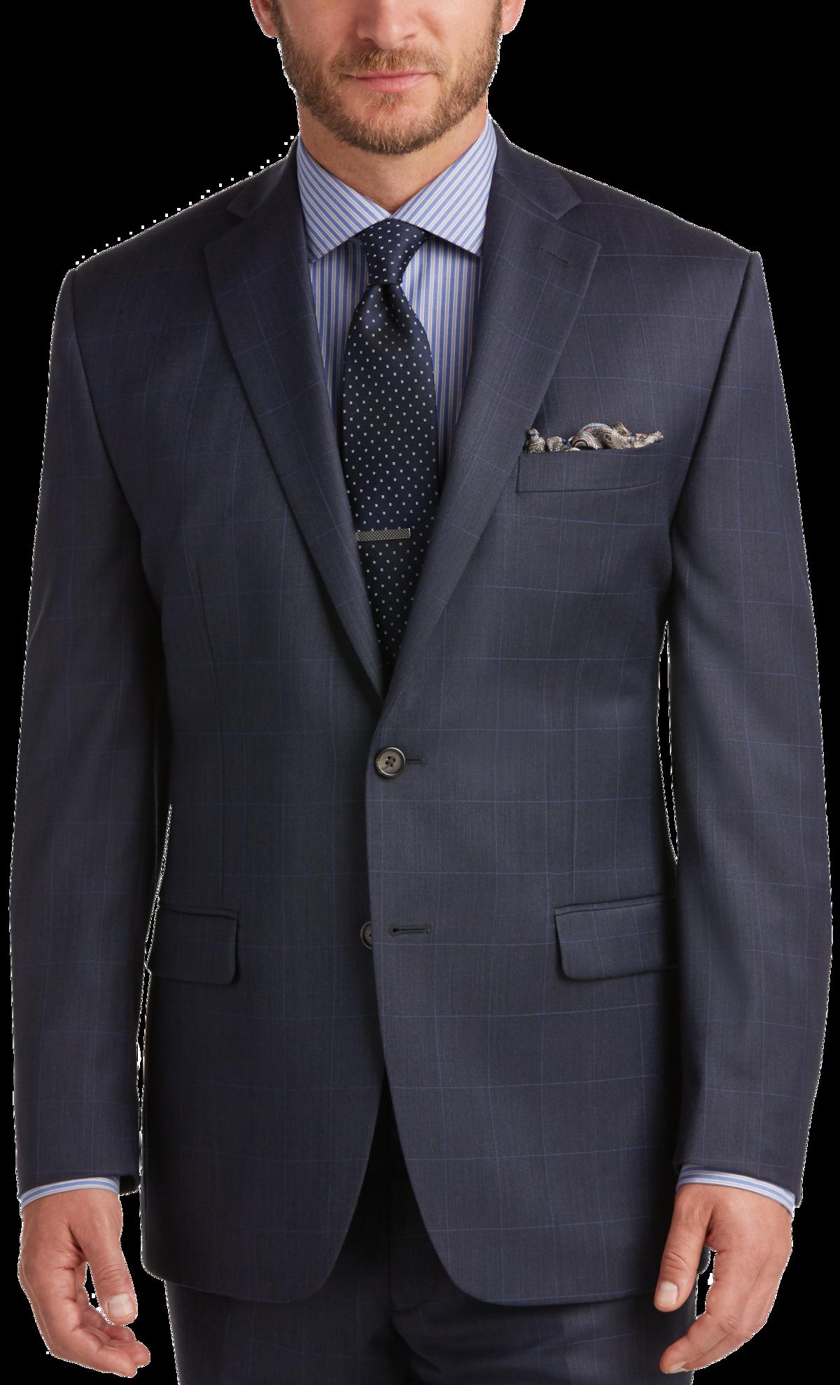 Lauren by Ralph Lauren Blue Windowpane Classic Fit Suit - Men's ...