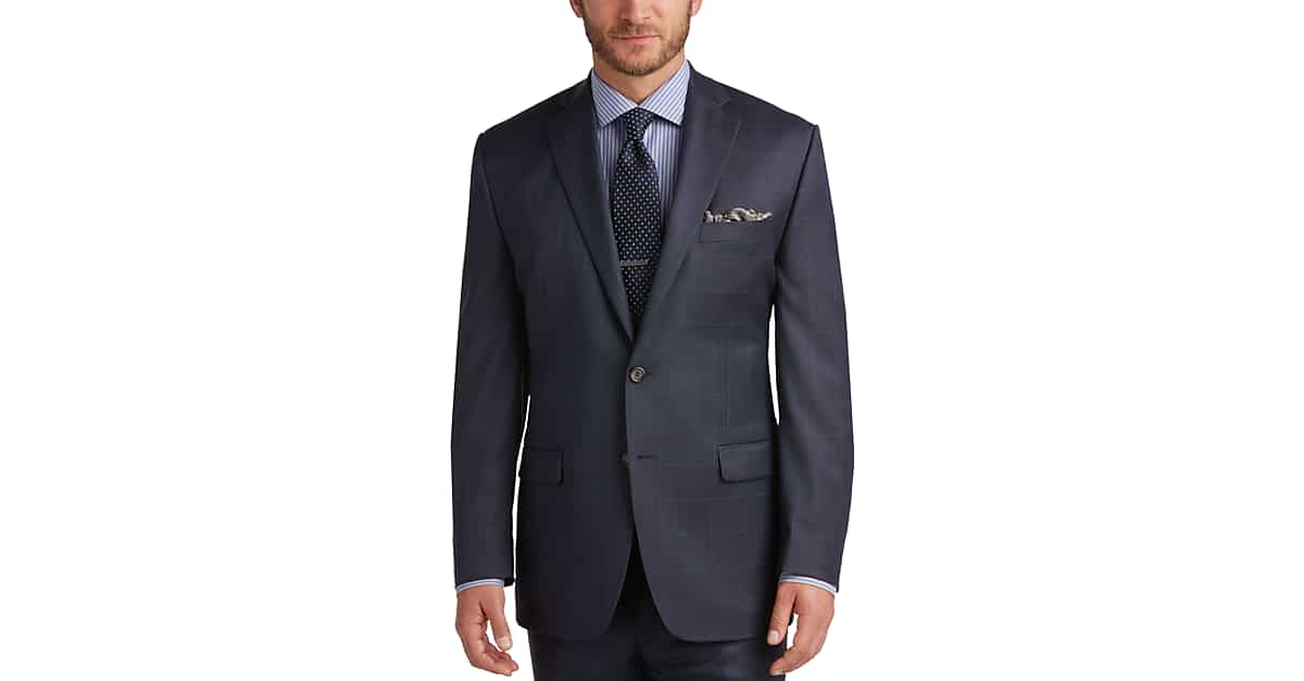 Lauren by Ralph Lauren Blue Windowpane Classic Fit Suit - Men's ...
