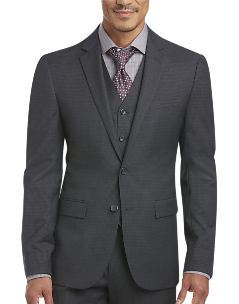 Awearness Kenneth Cole Gray Check Extreme Slim Fit Vested Suit ...