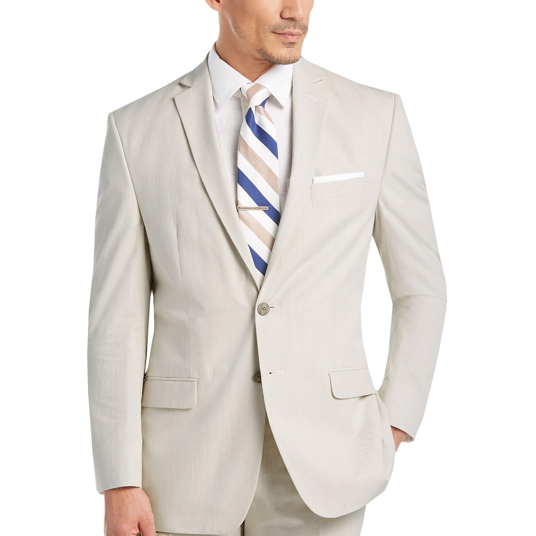 Calvin Klein Tan & White Pin Cord Slim Fit Suit - Men's Slim Fit ...