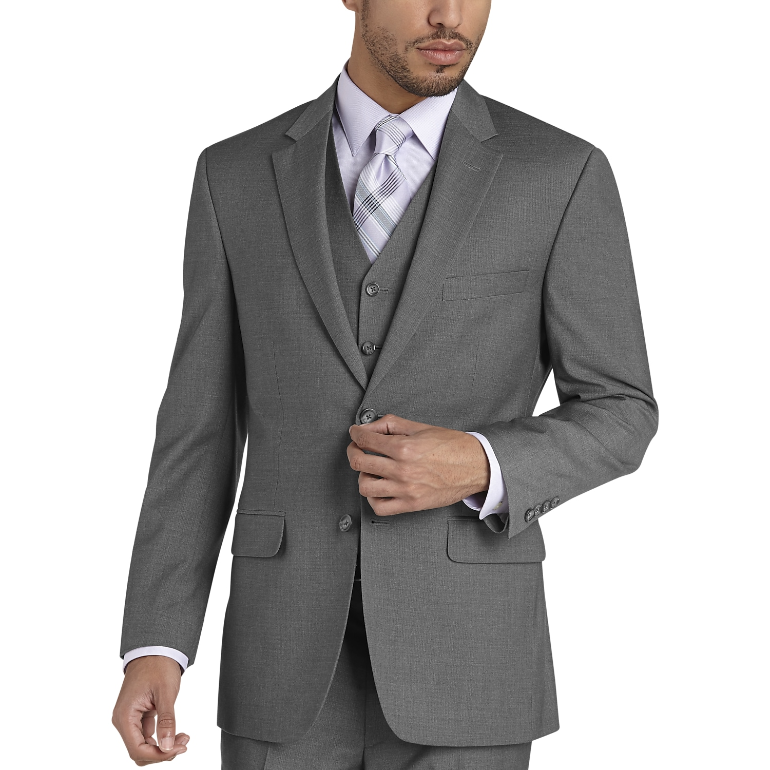 7151bba6357 Mens Home - Pronto Uomo Gray Modern Fit Vested Suit - Men s Wearhouse
