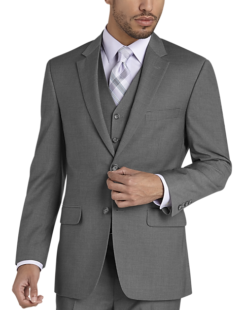 Pronto Uomo Gray Modern Fit Vested Suit - Men's Modern Fit | Men's ...