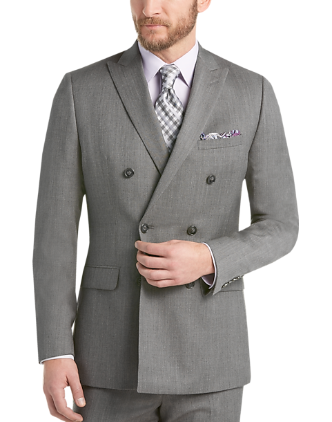 Calvin Klein Gray Double Breasted Slim Fit Suit by Mens Wearhouse