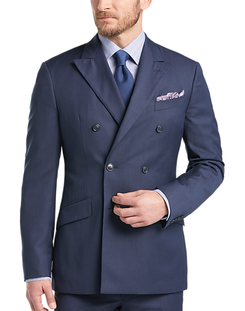 ab3ef082d450a5 Joseph Abboud Blue Double Breasted Multistripe Slim Fit Suit - Men's ...