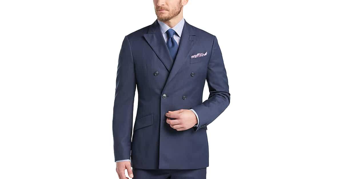 Joseph Abboud Blue Double Breasted Multistripe Slim Fit Suit ...