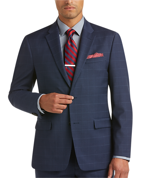 Tommy Hilfiger Blue Plaid Slim Fit Suit - Men's Slim Fit | Men's ...
