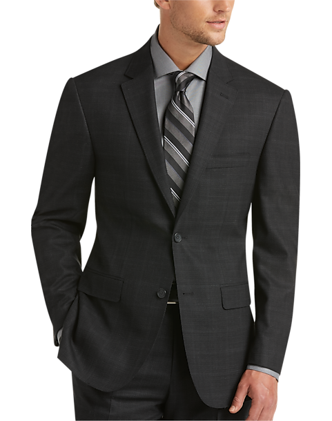 Awearness Kenneth Cole Charcoal Plaid Slim Fit Suit - Men's Slim ...