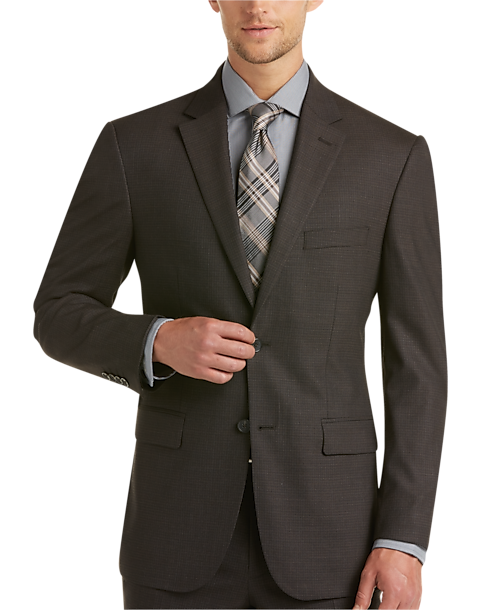 Awearness Kenneth Cole Brown Check Slim Fit Suit - Men's Slim Fit ...