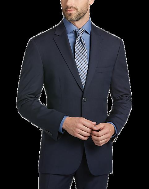 Awearness Kenneth Cole Navy Stripe Slim Fit Suit - Men's Slim Fit ...