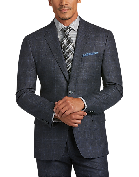 Joseph Abboud Blue Plaid Slim Fit Suit - Men's | Men's Wearhouse