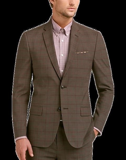 plaid brown suit suit la. Black Bedroom Furniture Sets. Home Design Ideas