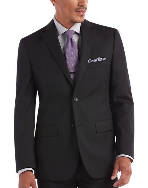 Awearness Kenneth Cole Solid Black Slim Fit Suit - Mens Suits, Clothing -  Men's Wearhouse