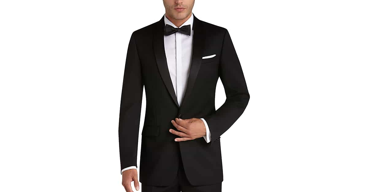 Black slim fit tuxedo men 39 s tuxedos calvin klein men for Best mens dress shirts under 50