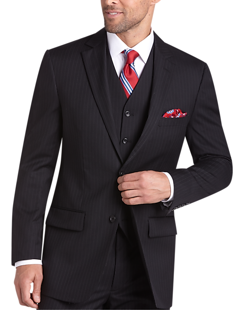 Pronto Uomo Platinum Suit Separates Coat, Black Pinstripe - Men's ...