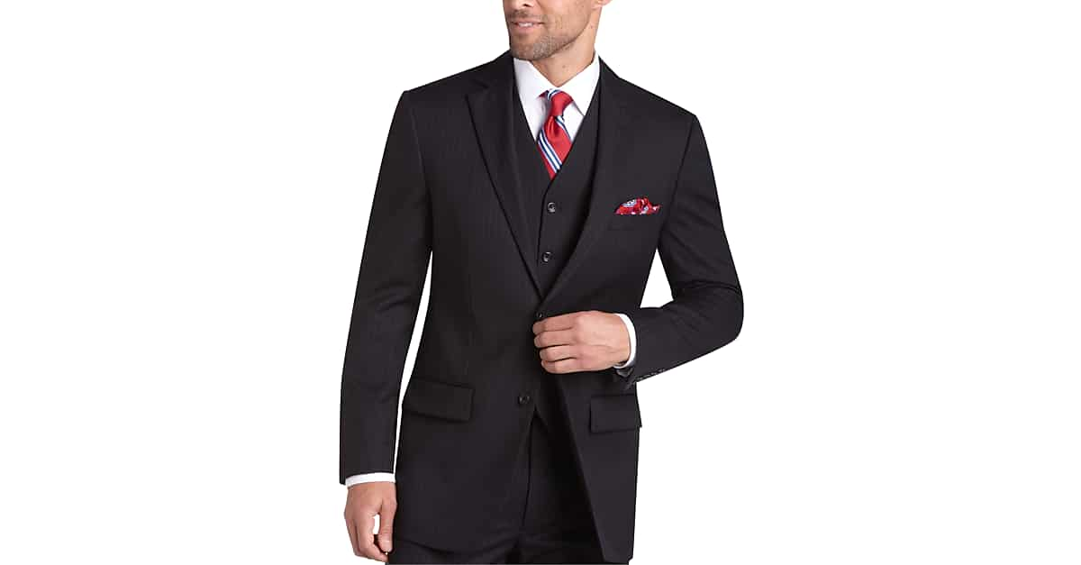Pronto Uomo Platinum Suit Separates Coat, Black Pinstripe - Men's ...
