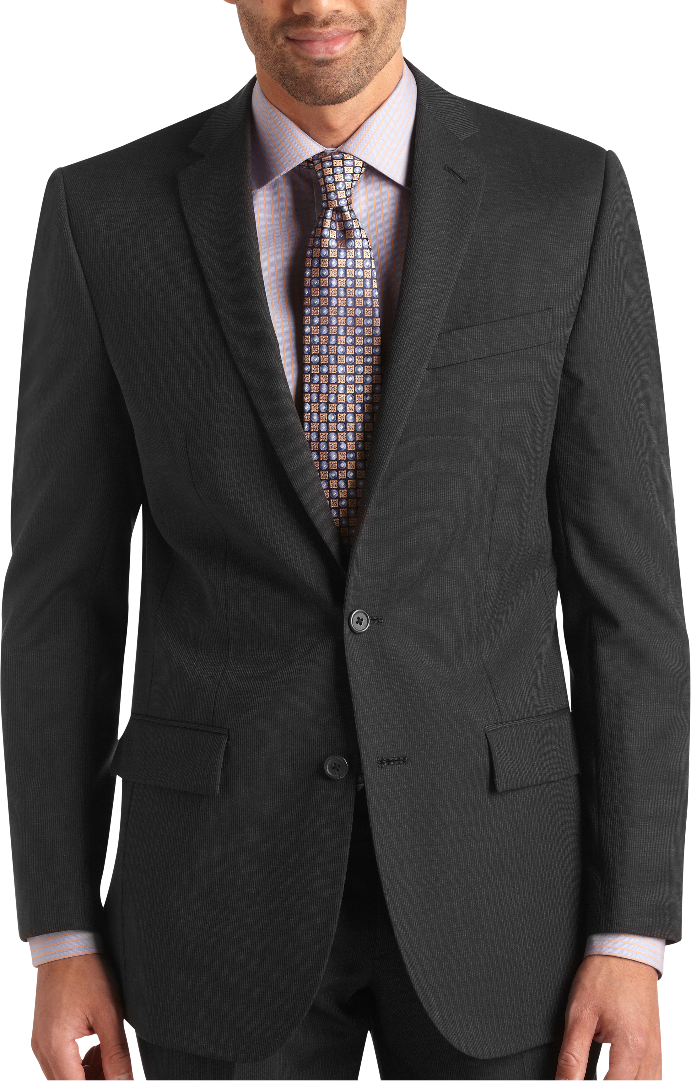 Egara Charcoal Stripe Slim Fit Suit Separates Coat