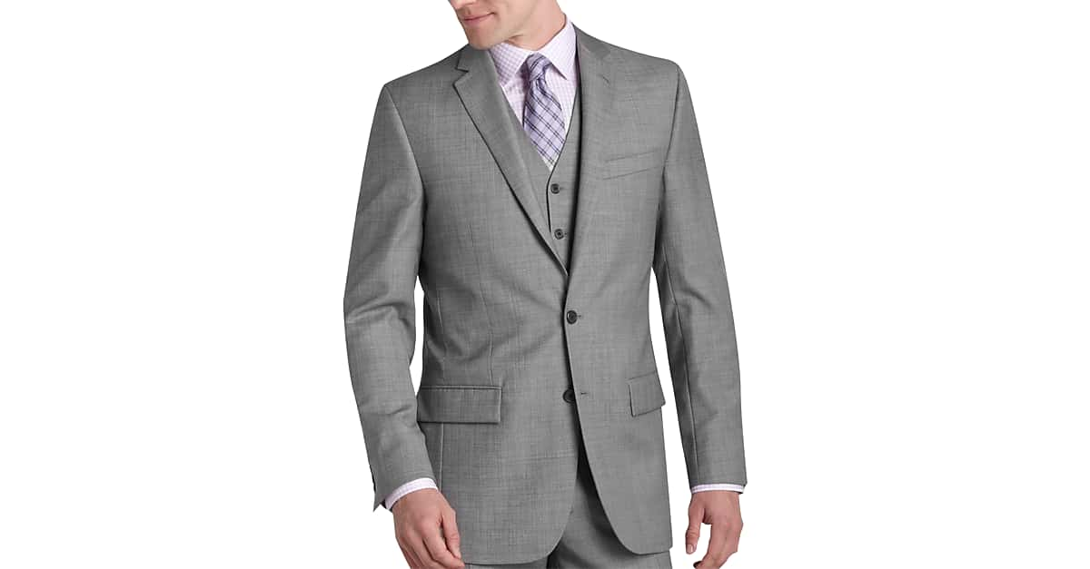 Egara Gray Sharkskin Slim Fit Suit Separates Coat - Men's Suit ...