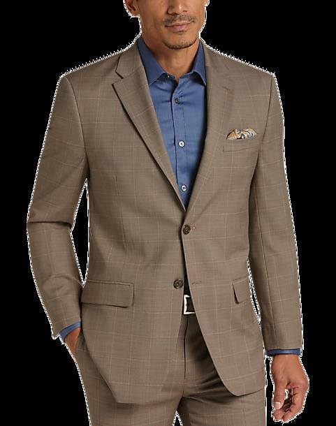 4b790e74d3a Tommy Hilfiger Light Brown Windowpane Plaid Slim Fit Suit - Men s ...