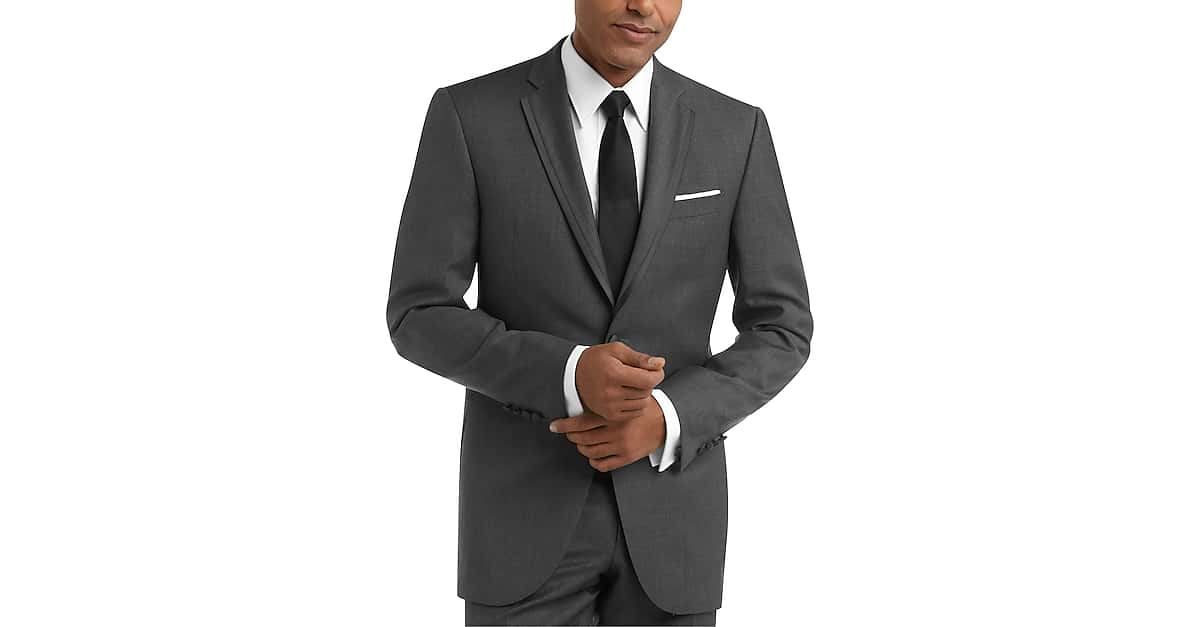 456064d7b45 100% Wool Gray Slim Fit Tuxedo - Men's Tuxedos - BLACK by Vera Wang | Men's  Wearhouse
