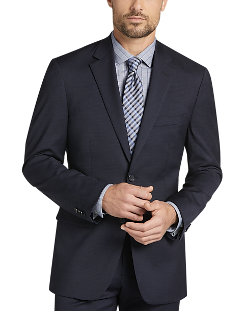 Awearness Kenneth Cole Navy Check Slim Fit Suit Mens Mens