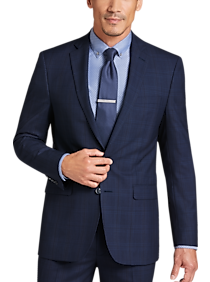 how to choose On Clearance good out x Calvin Klein X-Fit Navy Plaid Slim Fit Suit