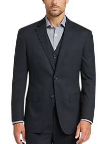 Awearness Kenneth Cole Navy Plaid Slim Fit Vested Suit