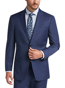 Tommy Hilfiger Mens Navy Line Plaid 2 Button Side Vent Trim Fit Suit