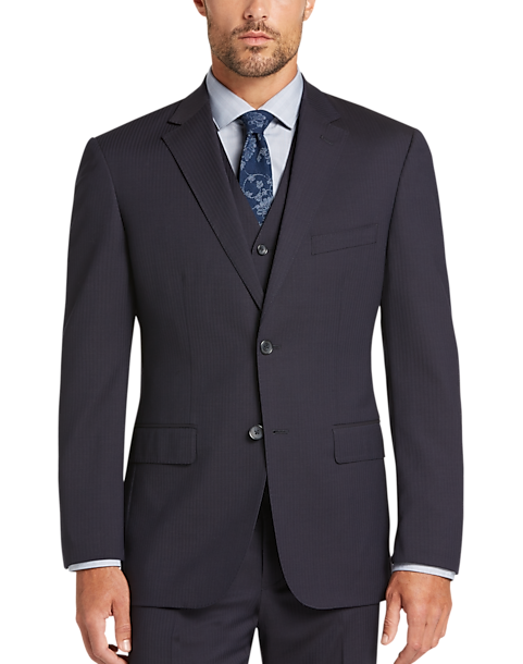 Awearness Kenneth Cole Men's Slim-Fit Vested Suit (NAVY STRIPE)