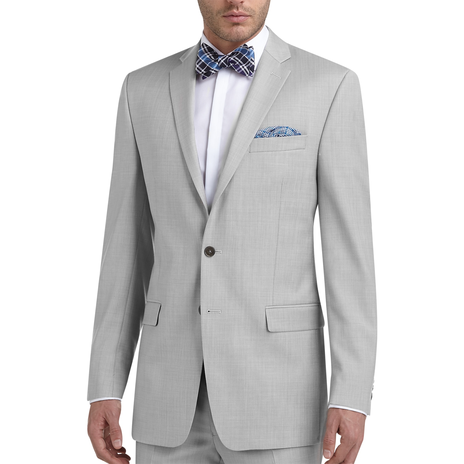 Mens Calvin Klein Suits, Suits - Calvin Klein Light Gray Sharkskin Slim Fit  Suit -
