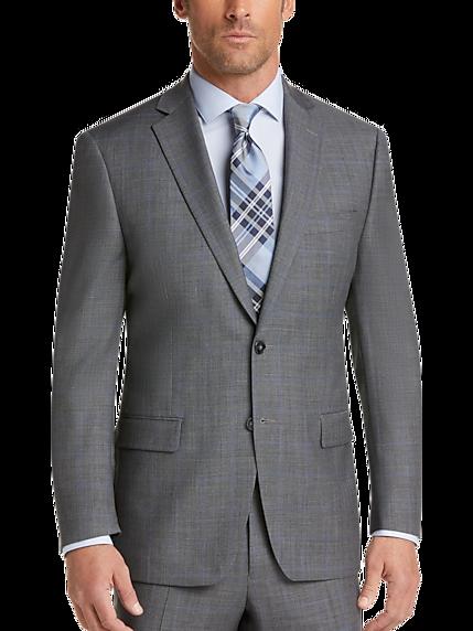 ce9f75d9e56bd9 Calvin Klein Gray Plaid Modern Fit Suit
