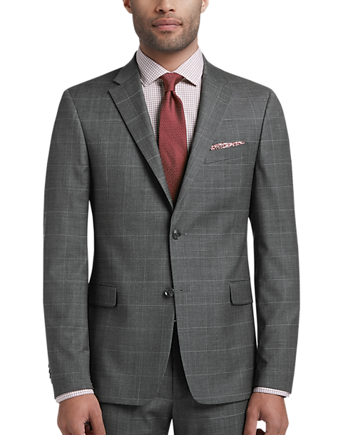 Tommy Hilfiger Gray Windowpane Slim Fit Suit
