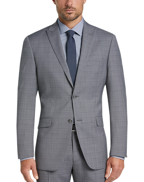 Perry Ellis Premium Slim Fit Tech Suit (Gray Plaid)