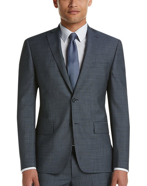 6eb80fa51a7 DKNY Blue Check Extreme Slim Fit Suit - Men s Suits