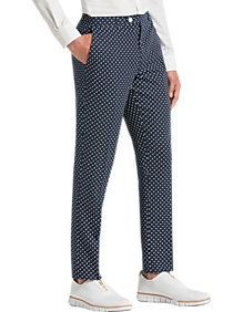 cfb9ab300 Mens Clearance - Paisley & Gray Slim Fit Suit Separates Pants, Navy & White  Polka