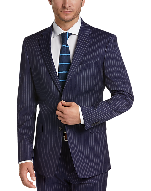 how to purchase super cheap compares to factory outlets Tommy Hilfiger Navy Stripe Slim Fit Suit