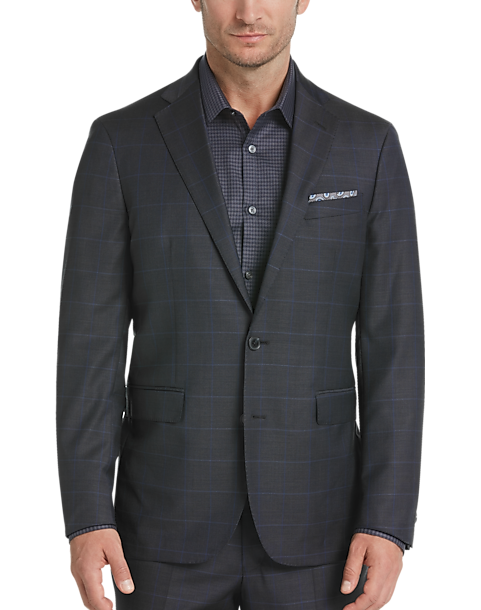 41ea2520 Cole Haan Grand.OS Charcoal Plaid Coolmax Lined Slim Fit Suit ...