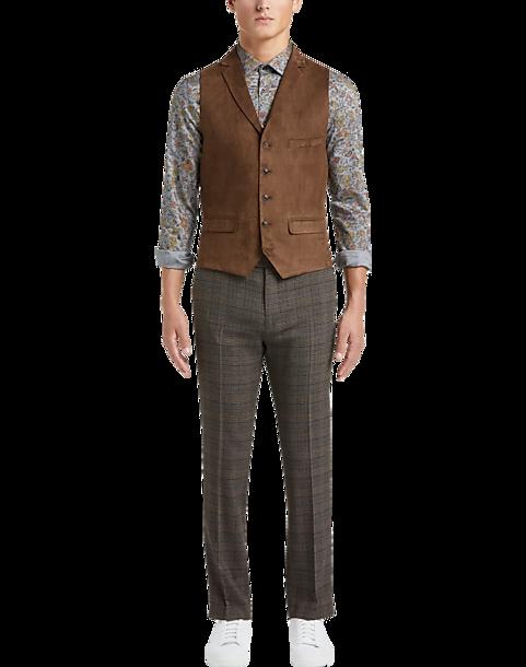 Paisley Gray Slim Fit Suit Separates Vest Brown Microsuede