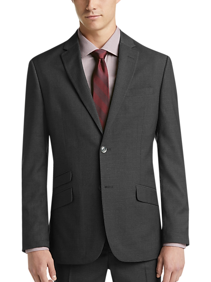 Ben Sherman Men Plaid Extreme Slim Fit Suit (Charcoal Gray)