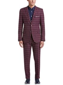 unparalleled attractive & durable high quality Paisley & Gray Slim Fit Suit Separates Coat, Dark Berry Plaid