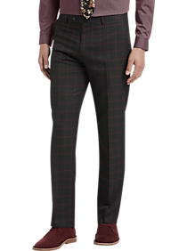 Mens Suits - Paisley & Gray Slim Fit Suit Separates Pants, Red Windowpane - Men's Wearhouse