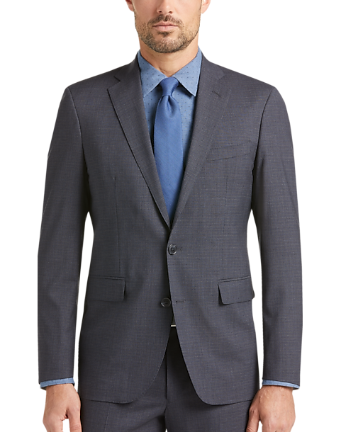 f30f93f1e8 Cole Haan Grand.OS Charcoal Check Coolmax Lined Slim Fit Suit ...