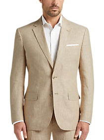 47973f9f JOE Joseph Abboud Tan Chambray Linen Slim Fit Suit Separates Coat