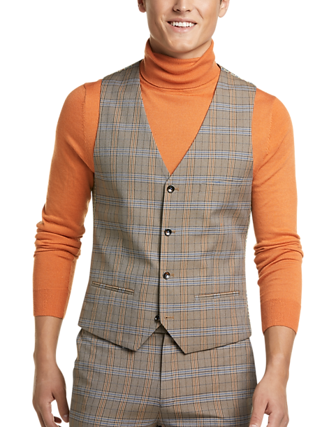 Paisley & Gray Slim Fit Suit Separates Vest (Tan & Blue Plaid)