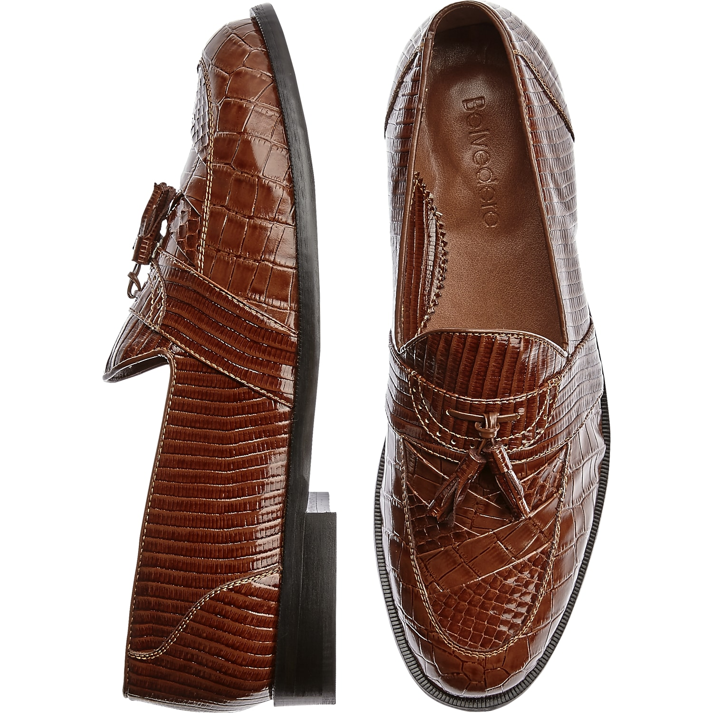 Mens Loafers & Slip-Ons, Shoes - Studio Belvedere Robert Brown Snakeskin Slip On