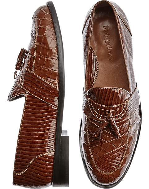 Studio Belvedere Robert Brown Snakeskin Slip On Dress Shoes