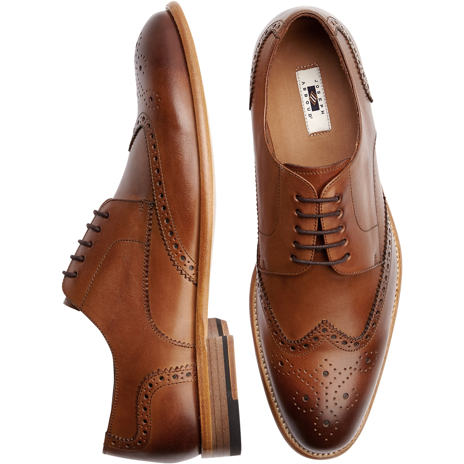 Mens Home - Joseph Abboud Barstow Brown Wingtip Lace Up Dress Shoes - Men's Wearhouse